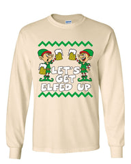 Let's Get Elfed Up Long Sleeve T-Shirt Drinking Beer Christmas Xmas Elf Ugly Tee