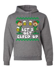 Let's Get Elfed Up Hoodie Drinking Beer Christmas Xmas Elf Ugly Sweatshirt