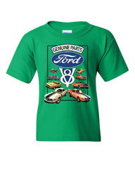 Ford Genuine Parts Youth T-Shirt American Classic Muscle Cars V8 Motor Kids Tee