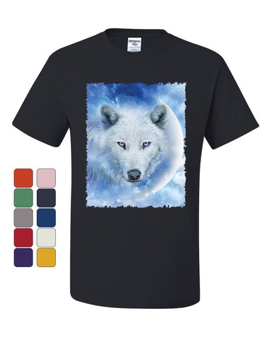 White Wolf T-Shirt Wildlife Animal Moon Howl Nature Wolfpack Tee Shirt