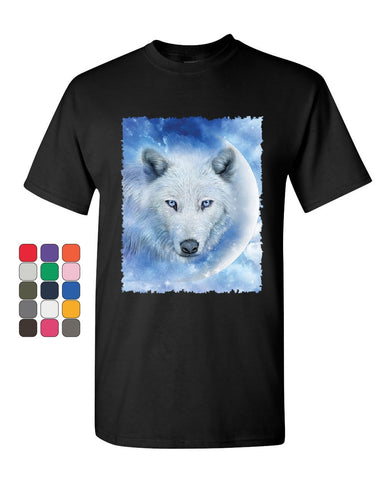 White Wolf T-Shirt Wildlife Animal Moon Howl Nature Wolfpack Mens Tee Shirt