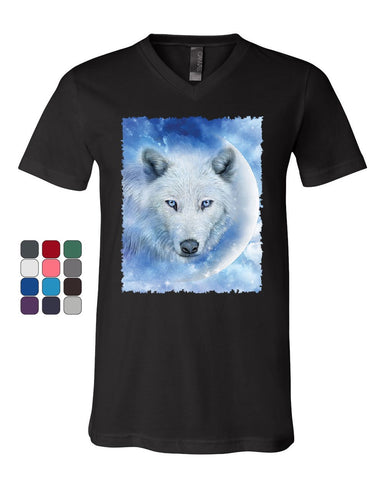 White Wolf V-Neck T-Shirt Wildlife Animal Moon Howl Nature Wolfpack Tee