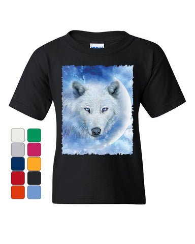 White Wolf Youth T-Shirt Wildlife Animal Moon Howl Nature Wolfpack Kids Tee