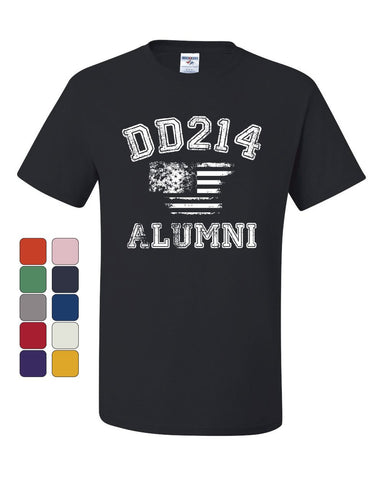 DD214 Alumni Distressed American Flag T-Shirt Military Veteran Tee Shirt
