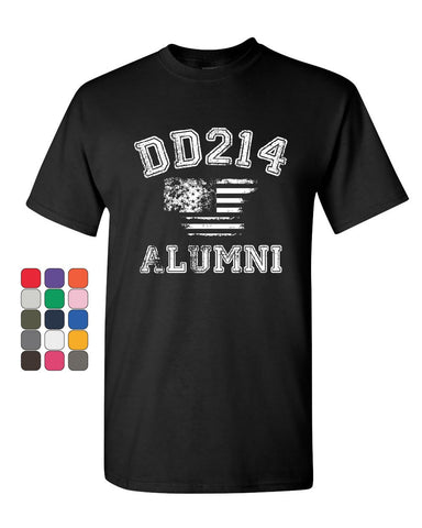 DD214 Alumni Distressed American Flag T-Shirt Military Veteran Mens Tee Shirt