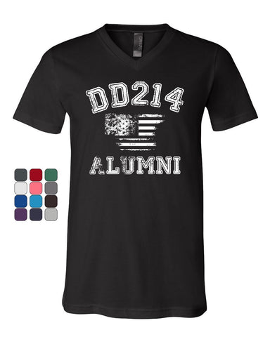 DD214 Alumni Distressed American Flag V-Neck T-Shirt Military Veteran Tee