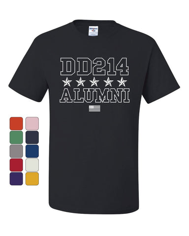 DD214 Alumni T-Shirt Patriotic Military Soldier Veteran US Flag Tee Shirt
