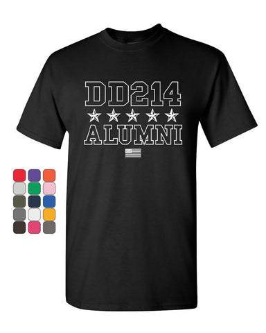 DD214 Alumni T-Shirt Patriotic Military Soldier Veteran US Flag Mens Tee Shirt