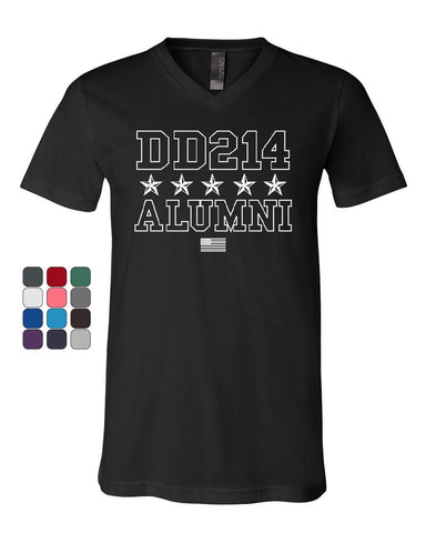DD214 Alumni V-Neck T-Shirt Patriotic Military Soldier Veteran US Flag Tee