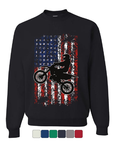 Dirt Bike American Flag Sweatshirt Extreme Enduro Motocross Rider Sweater