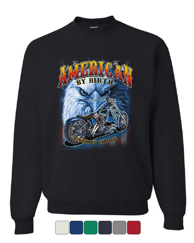 American by Birth Biker by Choice Sweatshirt Route 66 Bald Eagle Sweater
