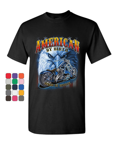 American by Birth Biker by Choice T-Shirt Route 66 Bald Eagle Mens Tee Shirt