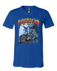 American by Birth Biker by Choice V-Neck T-Shirt Route 66 Bald Eagle Tee