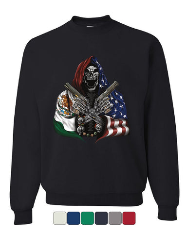 Skeleton Hitman with Guns Sweatshirt American Mexican Flag Patriot Sweater