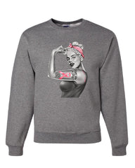 PinUp Marilyn Monroe Pink Ribbon Sweatshirt Breast Cancer Awareness Sweater