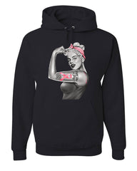 PinUp Marilyn Monroe Pink Ribbon Hoodie Breast Cancer Awareness Sweatshirt