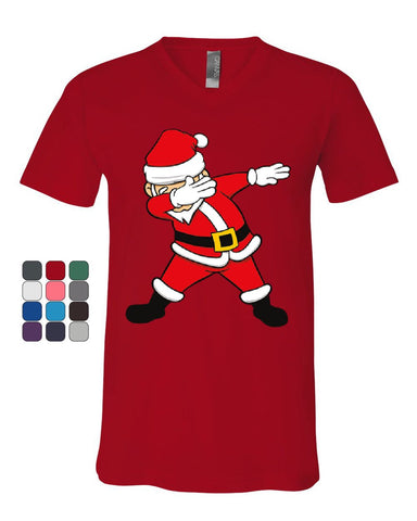 Dabbing Santa V-Neck T-Shirt Holly Jolly Christmas Holiday Spirit Xmas Tee