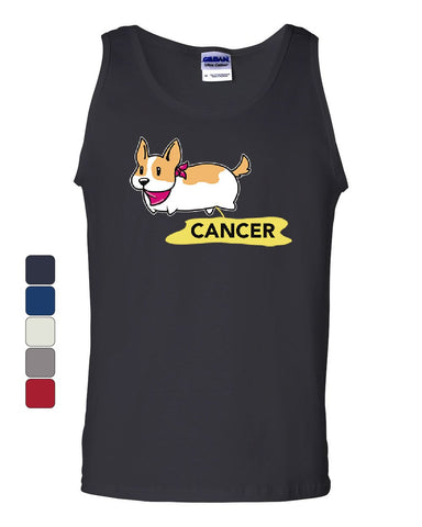 Puppy Peeing on Cancer Tank Top Funny Dog Doggie Cure Awareness Sleeveless