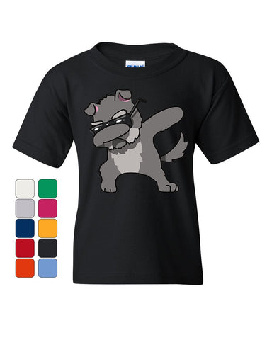 Dabbing Dog in Glasses Youth T-Shirt Doggie Dab Pet Lovers Pup Puppy Kids Tee