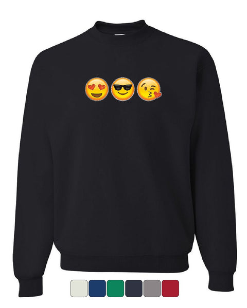 3 Emoji Faces Sweatshirt Funny Cute Glitter Smiley Face Pop Culture Sweater