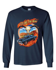 Feeling the Heat Long Sleeve T-Shirt Route 66 American Muscle Retro Vintage Tee
