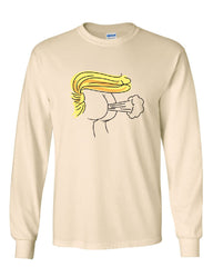 Donald Trump Fart Long Sleeve T-Shirt Funny Offensive Butt Impeach Resist Tee