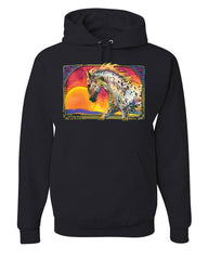 Horse Prancing in Sunset Hoodie Animal Wildlife Mare Stallion Sweatshirt
