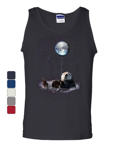 Cute Otter Bathing in Space Tank Top Funny Universe Galaxy Earth Sleeveless