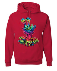 Peace Mushroom Hoodie Shroom Hippie Fungi Colorful Neon Love Sweatshirt