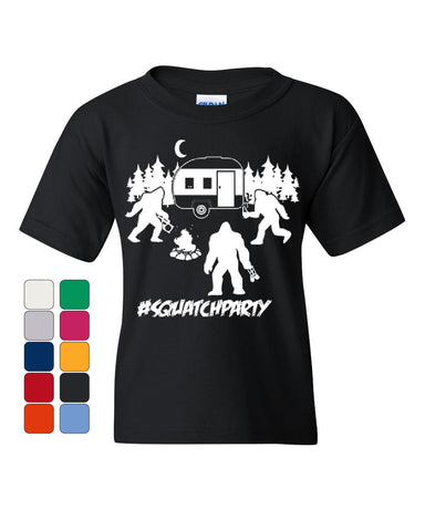 #Squatchparty Bigfoot Youth T-Shirt Squatch Yeti RV Camping Sasquatch Kids Tee