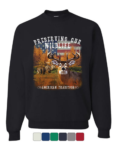 Preserve Wildlife American Tradition Sweatshirt Deer Buck Patriotic Sweater