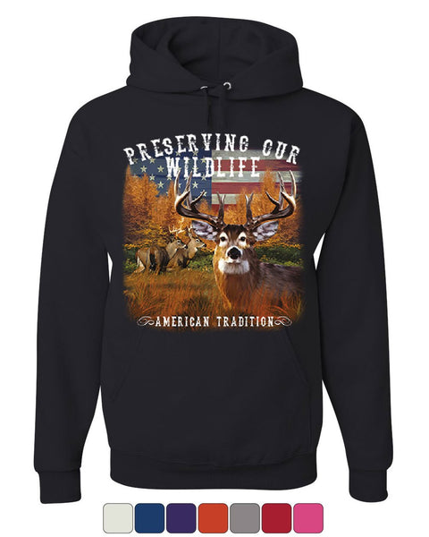 Preserve Wildlife American Tradition Hoodie Deer Buck Patriotic Sweatshirt