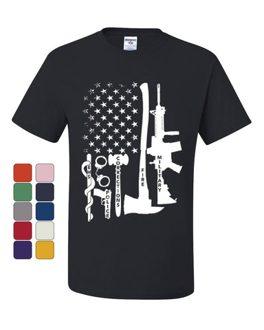 First Responders T-Shirt Police EMS Firefighter Military AR-15 Tee Shirt