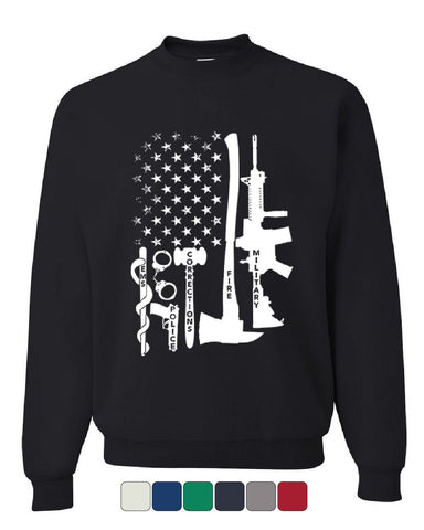 a87d017139 First Responders Sweatshirt Police EMS Firefighter Military AR-15 Sweater