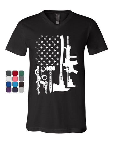 First Responders V-Neck T-Shirt Police EMS Firefighter Military AR-15 Tee
