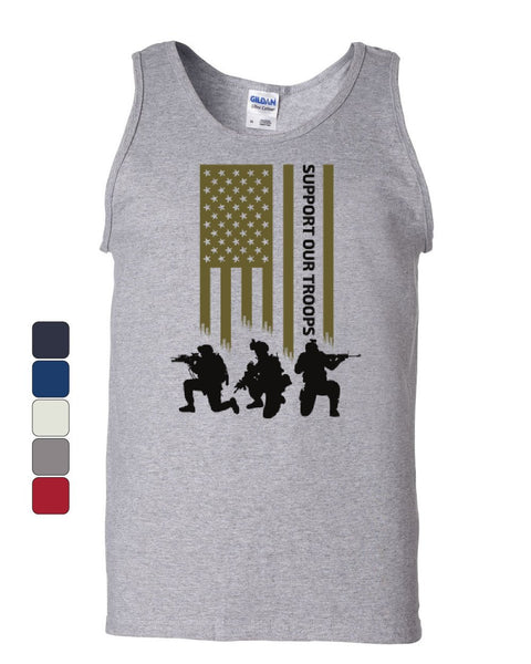 American Flag Support Our Troops Tank Top Remember Everyone Deployed Sleeveless