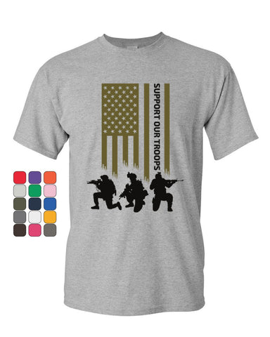 American Flag Support Our Troops T-Shirt Remember Everyone Deployed Mens Tee Shirt