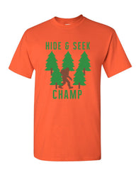Hide & Seek Champ Bigfoot Champion T-Shirt Sasquatch Yeti Mens Tee Shirt