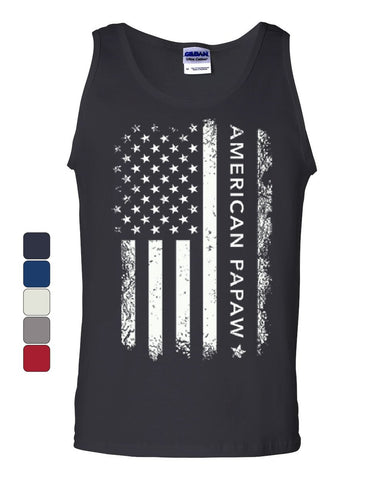 American Papaw Tank Top 4th of July Father's Day American Flag Sleeveless