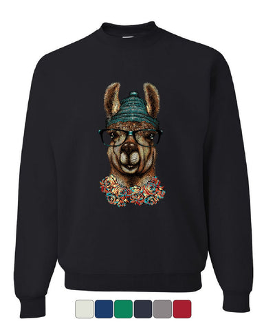 Hipster Llama in Glasses Sweatshirt Nerdy Geeky Chill Funny Urban Sweater