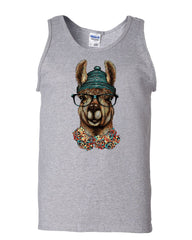 Hipster Llama in Glasses Tank Top Nerdy Geeky Chill Funny Urban Sleeveless