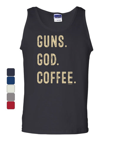 Guns God Coffee Tank Top 2A 2nd Amendment Religion Gun Rights Sleeveless