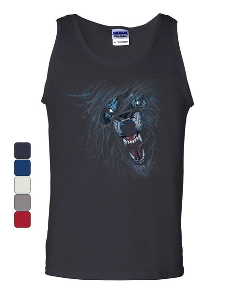 Fierce Growling Wolf Tank Top Wilderness Wild Animal Lone Wolf Sleeveless