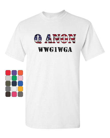 Q ANON WWG1WGA T-Shirt Patriotic Stars And Stripes Deep State Mens Tee Shirt