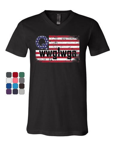 Distressed Q American Flag WWG1WGA V-Neck T-Shirt Deep State Patriotic Tee