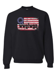 Distressed Q American Flag WWG1WGA Sweatshirt Deep State Patriotic Sweater