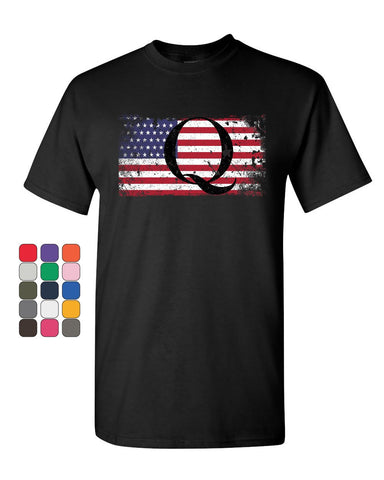 Q on Stars and Stripes T-Shirt QANON WWG1WGA American Patriot Mens Tee Shirt