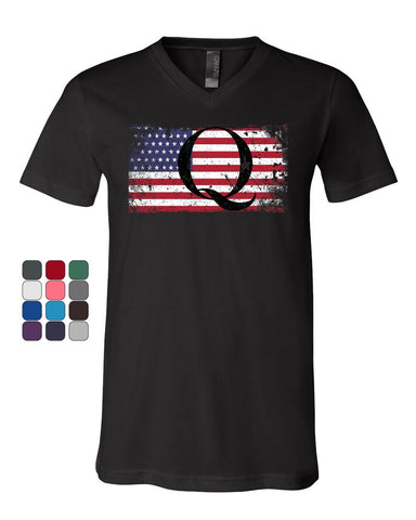 Q on Stars and Stripes V-Neck T-Shirt QANON WWG1WGA American Patriot Tee