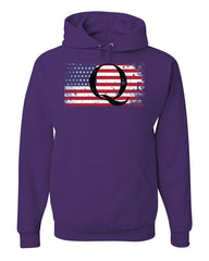 Q on Stars and Stripes Hoodie QANON WWG1WGA American Patriot Sweatshirt