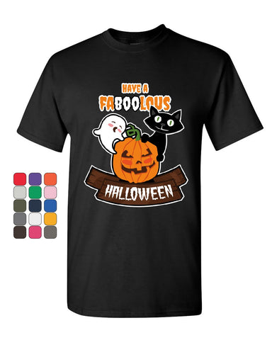 Have FaBOOlous Halloween T-Shirt Funny Ghost Pumpkin Black Cat Mens Tee Shirt